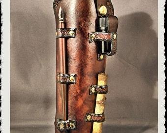 Steampunk brown leather bracer - Scribe -