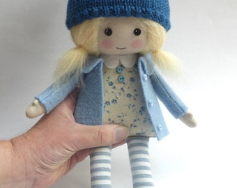 doll, handmade doll, rag doll, cloth doll, blonde haired doll, doll in blue, fall doll, doll in woolly hat, room decor