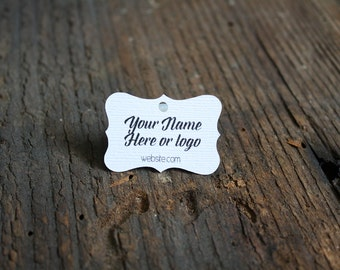 """200 tags - 1""""x 1.5"""" - Fancy Cut  Customized Small Price Tags Jewelry Hang Tags Labels MT07-W"""