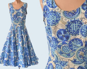 1950s Blue Silk Print Dress size XS