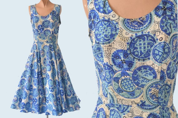 1950s Blue Silk Print Dress size XS