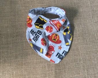 Reversible Baby Bandana Bib- drool bib-scarf bib-boy bib-girl bib-Fire fighter and gray chevron -baby gift-baby fashion- bib