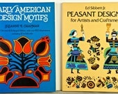 Early AMERICAN and PEASANT DESIGN Books, Lot 2 Softcover, 1974 & 1977