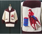 QUEEN Of THE RODEO 1950's Hand Knit Cowichan Sweater   Rodeo Cowgirl   Bulky Knit Zip Up Cardigan   Size Womens Medium, Mens Small
