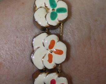 Vintage Pansy Flower Slide Bracelet, Pansy Gold Tone Slide Bracelet, 1960s Vintage Charm Bracelet Jewelry, Spring Holiday Vintage Bracelet
