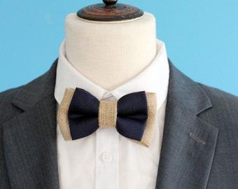 Mens navy Bow tie, burlap wedding bow tie, mens wedding bow tie, rustic wedding bow tie, burlap and navy cotton bow tie, wedding, groomsmen