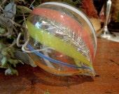 Vintage Christmas Ornament / Hand Blown Glass / Vintage Tear Drop Ornaments / Orange Yellow blue / Silver Garland