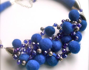 Felt necklace- Wool glass metal - Handmade- OOAK- Felted necklace with beads - Ultramarine color necklace