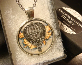 Hot Air Balloon Vintage  Map Pendant Necklace (2500)