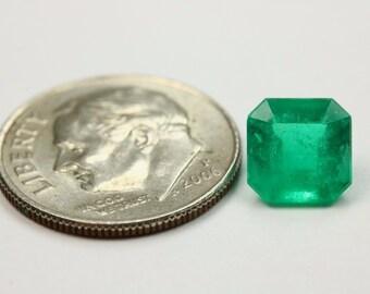 1.58cts Medium Dark Green Color Natural Colombian Emerald Cut!
