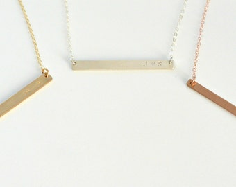 Skinny Bar Necklace, Personalized Thin Name Bar Necklace, Initial Necklace, Couples Necklace, BFF Necklace, Silver, Gold, Rose Gold Necklace
