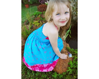 Girls Dress Blue Halter, Toddler Dress, Blue Smocked Dress, Girls Halter Dress, Smocked Batik Dress