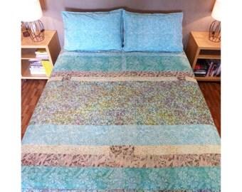 Duvet Coverlet, Blue Comforter, Blue Coverlet, Duvet Comforter, Blue Stripe Duvet Floral, Blue Duvet