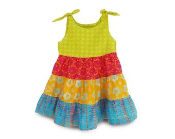 Toddler Ruffle Dress, Boho Toddler Dress, Girls Party Dress, Boho Batik Dress, Girls Birthday Gift Dress