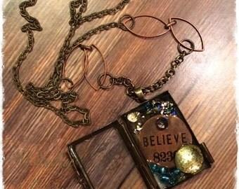 Locket Necklace, Vintage Locket, Mixed Media Necklace, Believe Necklace, Treasure Locket, Steampunk Necklace, Steampunk Jewelry, Boho Locket