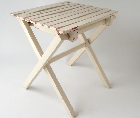 Folding wood stool vintage white stool slat wooden camp seat