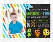 Monster Birthday Invitation - Little Monster 1st Birthday Chevron Blue Green Orange Boy Birthday Invite DIY Printable Invite PDF (Item #5)