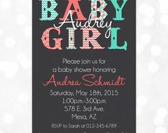 Girl Baby Shower Invitation - Baby Girl Coral Teal Chevron Polka Dot Floral Houndstooth Typography DIY Printable Invite PDF (Item #108)