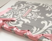 Grey and Pink Damask Baby Shower Memory Book/Girl Birthday Album/Photo Book and Journal/Personalized - (Custom Colors Available)