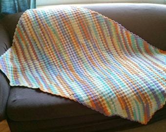 Crocheted Sherbet Diagonal Toddler Blanket - Ready to Ship
