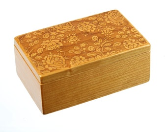 Rose Patterned Wooden Storage Box 5-3/8 x 3-3/8, SB11, Solid Cherry -Laser Engraved, Pattern 11 Roses, Paul Szewc, Masterpiece Gallery