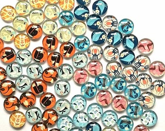 Mix Bulk 100 (50pair) Included 10Patten Handmade Photo Glass Cabochons 12mm CPC133