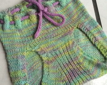 EXTRA LARGE  Wool Cable Soaker, Hand Knit Diaper Cover, blue, green, purple, blue, tie dye, hand dyed yarn  toddler