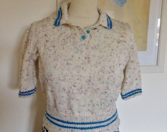 New. Vintage style hand knitted Polo shirt. Cream and turquoise Small. Unique.