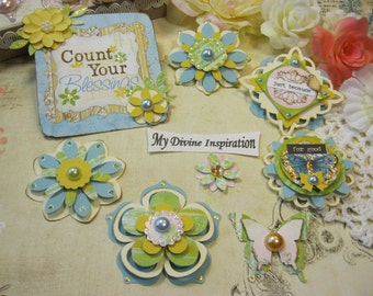 Bo Bunny Country Garden Handmade Paper Embellishments and Paper Flowers for Scrapbook Layouts Cards Mini Albums Tags and Paper Crafts