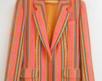 Vintage 1990s ANNE KLEIN  orange & pink Native American-inspired woven striped blazer, size 10/12