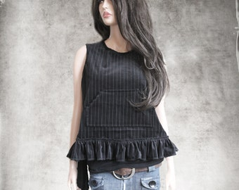 Velvet stripe top/Sleeveless shirt crew/Ruffle side sash hem