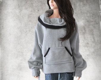 Cowl neck wide/Women gray top/Fleece pull over/Wide neck drape/Big collar/Black tip active wear/Long sleeve sweatshirt