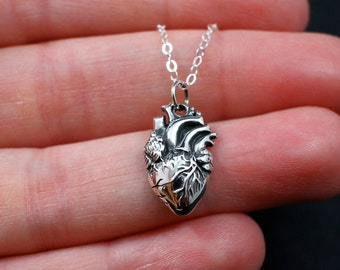 Anatomical Heart Necklace Sterling Silver | Heart Jewelry | Heart Necklace | Zombie Heart Necklace | Realistic Heart Necklace | Valentine