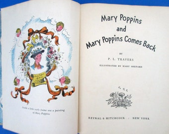 Vintage MARY POPPINS: 2 Books in 1 Volume. 1946 Printing. FREE U.S. Shipping