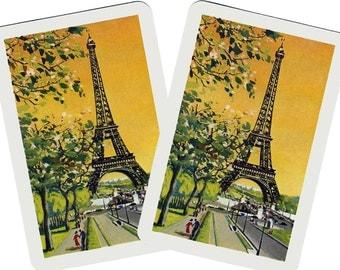 EIFFEL TOWER (2) Vintage Single Swap Playing Cards Paper Ephemera Scrapbook