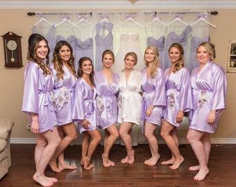 Bridesmaid Robes, LAVENDER, wedding robe, bridesmaid silk robe, dressing gown, personalized silk robe, kimono robe, floral robe, bridal robe