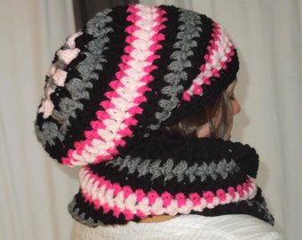Black grey and pink  infinity cowl scarf neckwarmer