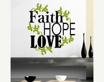 15% OFF Faith Hope Love-Vinyl Lettering wall words graphics Home decor itswritteninvinyl