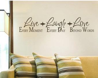 15% OFF Live  Laugh Love-Vinyl Lettering wall words graphics Home decor itswritteninvinyl