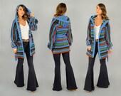 70's HOODED Wrap Cardigan Sweater