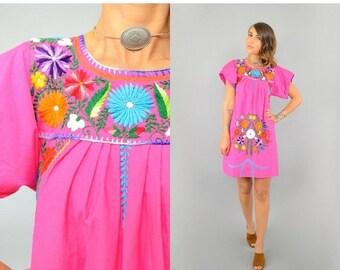 SUMMER SALE 70's OAXACAN Embroidered Mini Dress