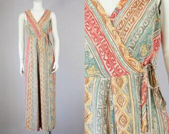 70s Vintage Lanz Wide Leg Jumpsuit. Sleeveless Wrap Rayon Jumpsuit (S, M)