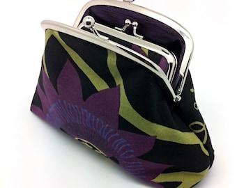 Aubergine Flower Kiss Lock Clutch Coin Purse Wallet Black Cotton Purple Silk Double Metal Silver Frame