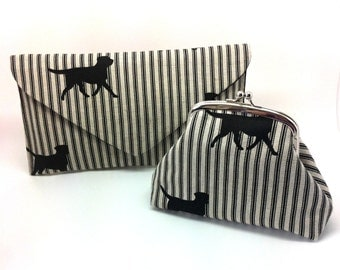 SPECIAL OFFER! Black Dog Kiss Lock Clutch Envelope Bag Coin Purse Wallet Silver Double Frame Gift for Women Striped Linen Cotton Silk