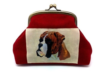 Boxer Dog Kiss Lock Wallet Clutch Coin Purse Gold Double Frame Gift for Women Red Linen Brown Silk Pockets