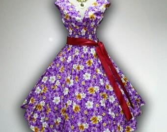 Joyful Purple Cute Chaba Floral 50s Pin up Rockabilly Swing Dress Full Swing Skirt size S-M