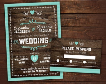 rustic country wedding invitation barn wedding wood printable wedding invitation rustic wedding suite