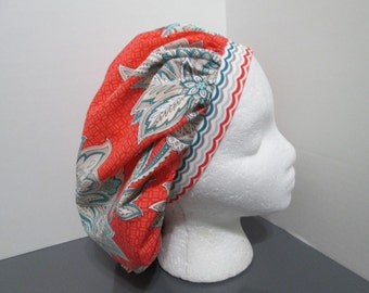 Coral, Teal, Gray, and Ivory Floral with Coordinating Band Bouffant Surgical Scrub Cap
