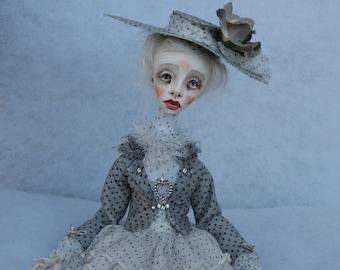 Paula Art clay doll Clay doll OOAK doll Human figure doll Collecting doll Hand made doll Decorative doll Air dry clay doll