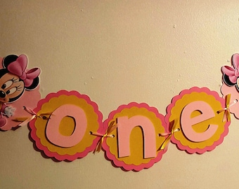 Baby Minnie Mouse 1st Birthday Banner - O N E